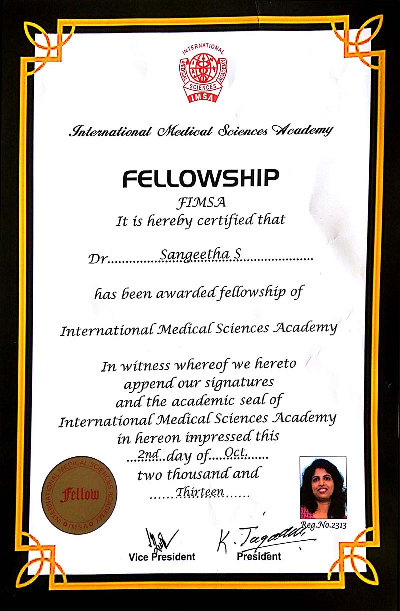 IMSA awarded the fellowship to Dr Sangeetha   RRMCH College